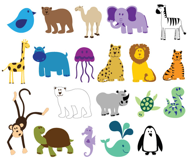 Cute Colorful Animals Full Vector Pack