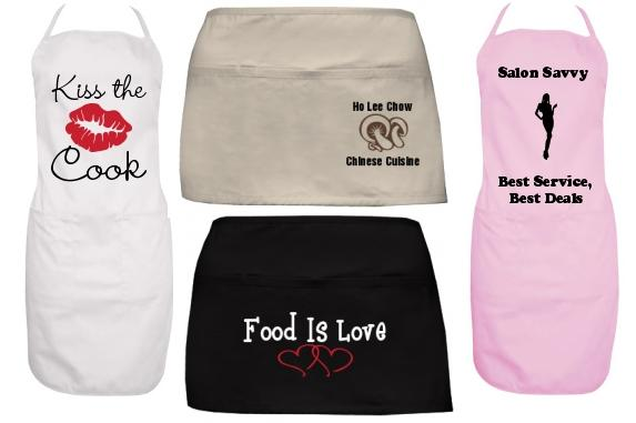 Our Custom aprons go way beyond the kitchen! They are perfect for hair  salons, restaurants, even spas! We also have several styles to choose from,  ...