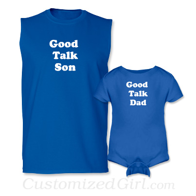 Matching Father and Son Onesies - Good Talk