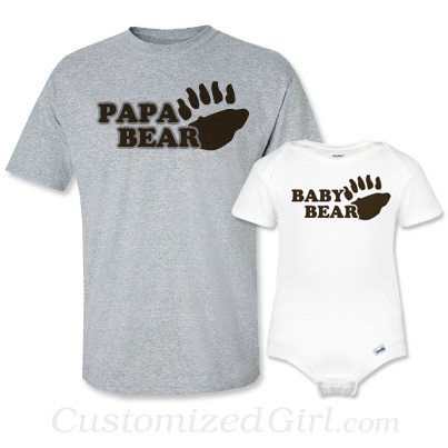 Matching Father and Son Onesies - Papa Bear and Baby Bear