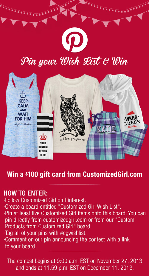 Pintrest Wish List Contest Customized Girl