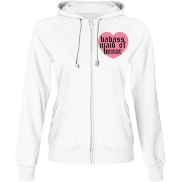 Maid Of Honor Badass Junior Fit Bella Fleece Raglan Full Zip Hoodie
