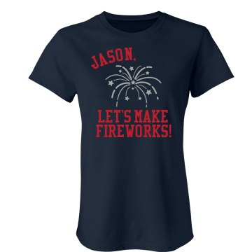 Lets Make Fireworks Junior Fit Bella Crewneck Jersey Tee