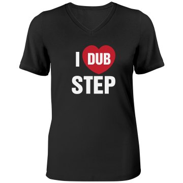 I Heart Dub Step Misses Relaxed Fit Anvil V-Neck Tee