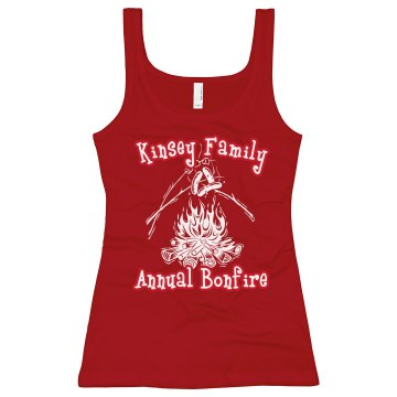 Kinsey Family Bonfire Junior Fit Bella Longer Length 1x1 Rib Tank Top