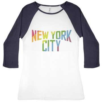 New York City Rainbow Junior Fit Bella 1x1 Rib 3&#x2F;4 Sleeve Raglan Tee
