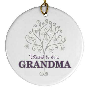 Blessed To Be A Grandma Porcelain Circle Ornament