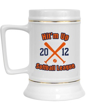 Softball League Stein 28oz Gold Trim Ceramic Stein