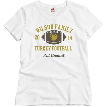 Turkey Day Football Junior Fit Brightline 3&#x2F;4 Sleeve Jersey Tee