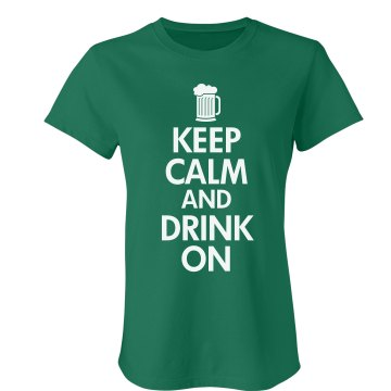Keep Calm & Drink On Junior Fit Bella Crewneck Jersey Tee