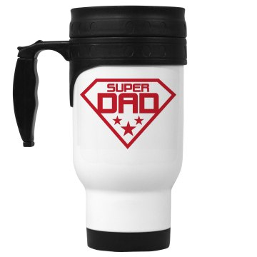Super Dad Coffee Mug 14oz White Stainless Steel Travel Mug