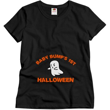 Baby Bump's 1st Halloween Misses Relaxed Fit Gildan Ultra Cotton Tee