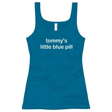 Tom's Little Blue Pill Junior Fit Bella Sheer Longer Length Rib Tank Top