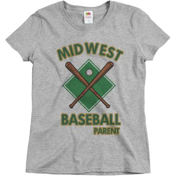Midwest Baseball Parent Misses Relaxed Fit Basic Gildan Heavy Cotton Tee