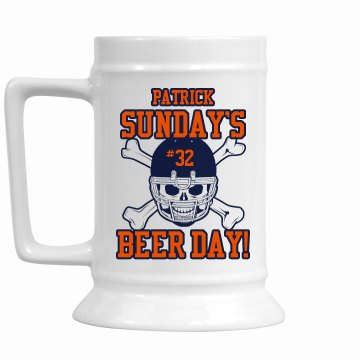 Sunday Beer Day Stein 16oz Ceramic Stein