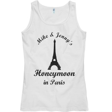 Honeymoon In Paris Junior Fit Bella Sheer Longer Length Rib Tank Top