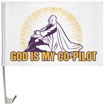 God Is My Co-Pilot One-Sided Driver Side Car Flag