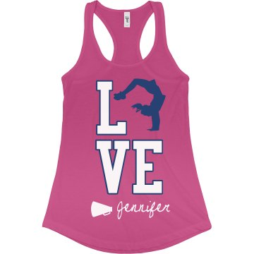 Love Cheer Tank Junior Fit Bella Sheer Longer Length Rib Racerback Tank Top