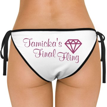 Final Fling Bachelorette American Apparel Nylon Tricot Side-Tie Bikini Swimsuit Bottom