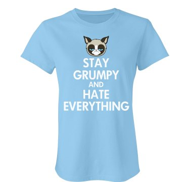 Keep Calm Grumpy Cat Junior Fit American Apparel Fine Jersey Tee