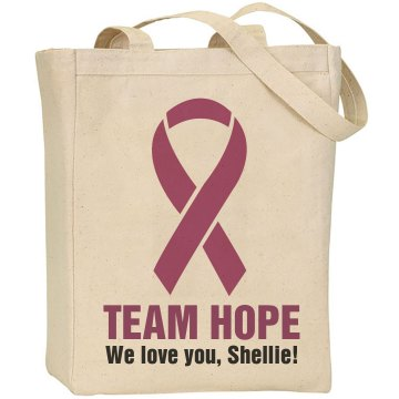 Breast Cancer Team Hope Liberty Bags Canvas Tote