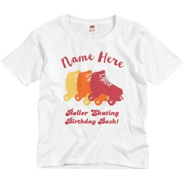 Roller Skating Birthday Youth Basic Gildan Ultra Cotton Crew Neck Tee