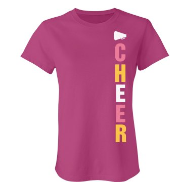 Cheer Side Print Tee Junior Fit Bella Sheer Longer Length Rib Tee