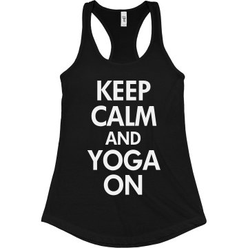 Keep Calm and Yoga On Junior Fit Bella Sheer Longer Length Rib Racerback Tank Top