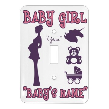 Baby Girl's Room Single Light Switch Cover