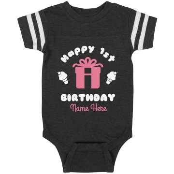 Happy 1st Birthday Emma Junior Fit Basic Bella Favorite Tee