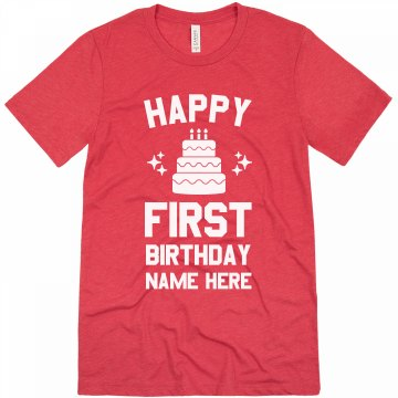 Happy 1st Birthday Alex Unisex Basic Gildan Heavy Cotton Crew Neck Tee