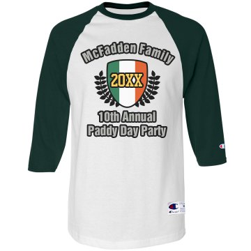 Paddy Day Party Tee Unisex Anvil 3/4 Sleeve Raglan Baseball Tee