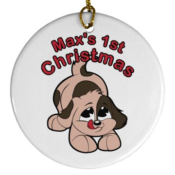 Dog&#x27;s 1st Christmas Porcelain Circle Ornament