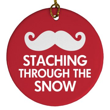 Staching Through The Snow Porcelain Circle Ornament