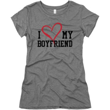 I Heart My Boyfriend Junior Fit Bella Triblend Tee