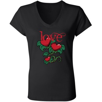 Love Junior Fit Bella Sheer Longer Length Rib V-Neck Tee