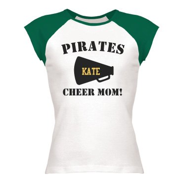 Kate's Pirates Cheer Mom Junior Fit Bella 1x1 Rib Ringer Tee