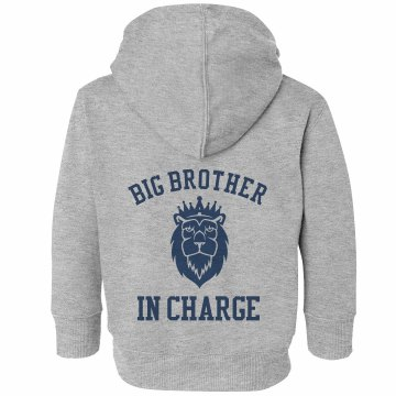 Big Brother In Charge Toddler Rabbit Skins Hooded Full-Zip Sweatshirt