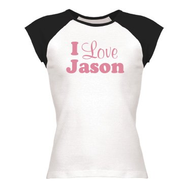 Love Tee Design Junior Fit Bella 1x1 Rib Cap Sleeve Raglan Tee