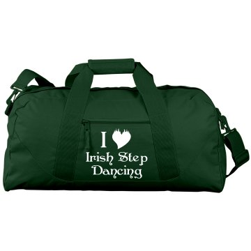 I Love Irish Step Dance Port & Company Large Square Duffel Bag