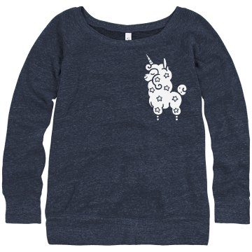Chest Unicorn Rhinestone Junior Fit Bella Triblend Slouchy Wideneck Sweatshirt