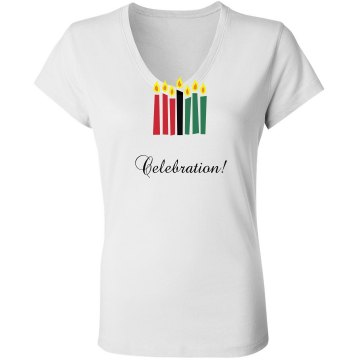 A Kwanzaa Celebration Junior Fit Bella Long Sleeve Sheer Longer Length Rib V-Neck Tee