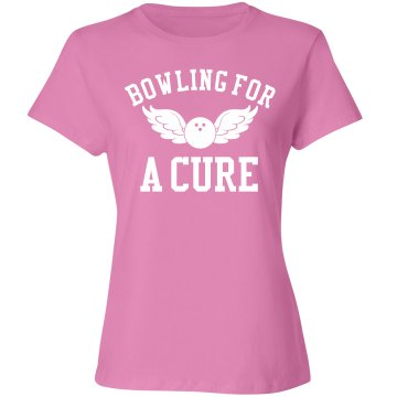 Bowling Charity Tee Junior Fit Bella Sheer Longer Length Rib V-Neck Tee 