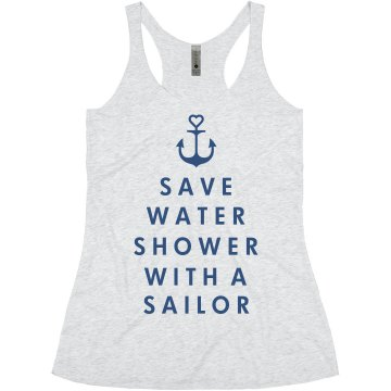 Shower With A Sailor Junior Fit Bella Sheer Longer Length Rib Strap Tank Top