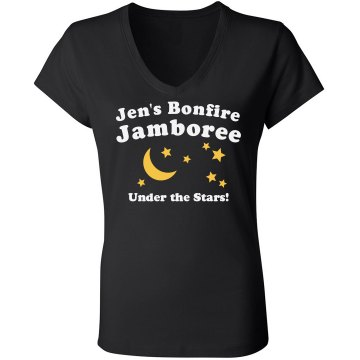Bonfire Jamboree Junior Fit Bella Sheer Longer Length Rib V-Neck Tee