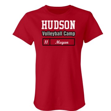 Hudson Volleyball Camp Junior Fit Bella Crewneck Jersey Tee