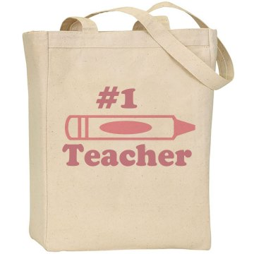 Number 1 Teacher Bag Liberty Bags Canvas Tote