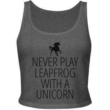Leapfrog with an Unicorn Junior Fit Bella Sheer Longer Length Rib Tank Top
