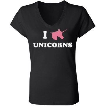 I Love Unicorns Junior Fit Bella Sheer Longer Length Rib V-Neck Tee
