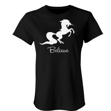 I Believe In Unicorns Junior Fit Bella Sheer Longer Length Rib Tee